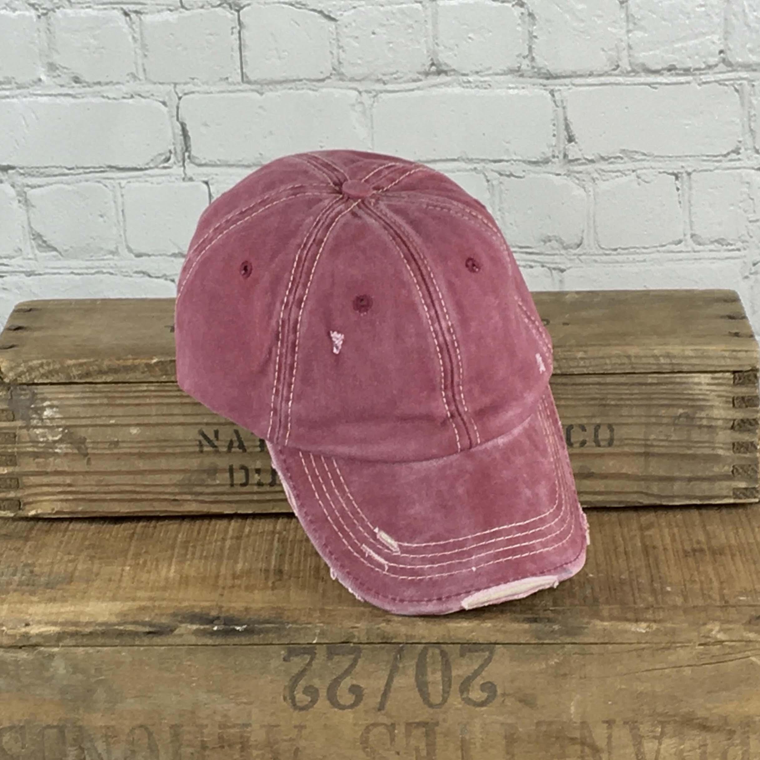 E19792 Distressed Unisex Wine Washed  Baseball Cap