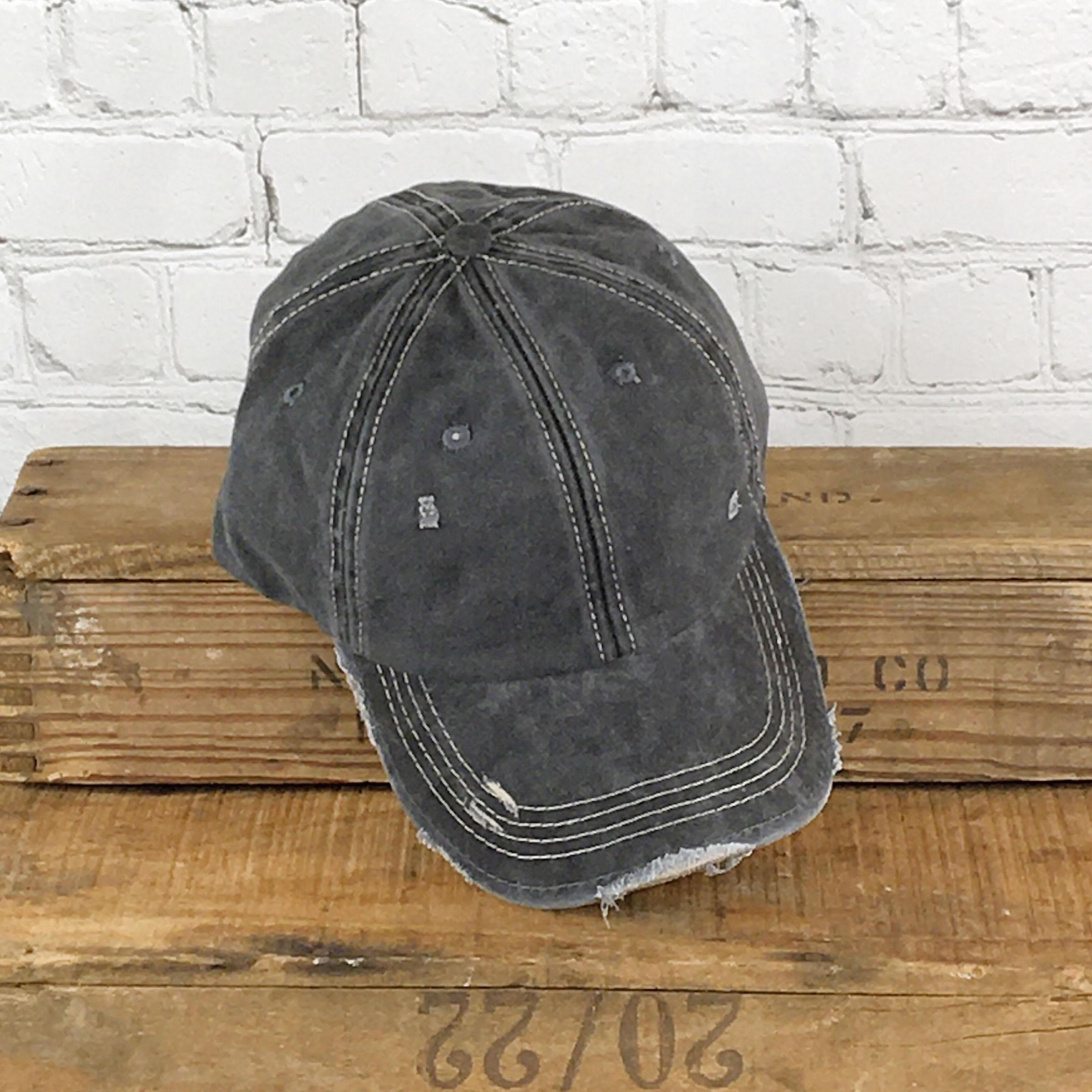 E19794 Distressed Unisex Grey Washed   Baseball Cap