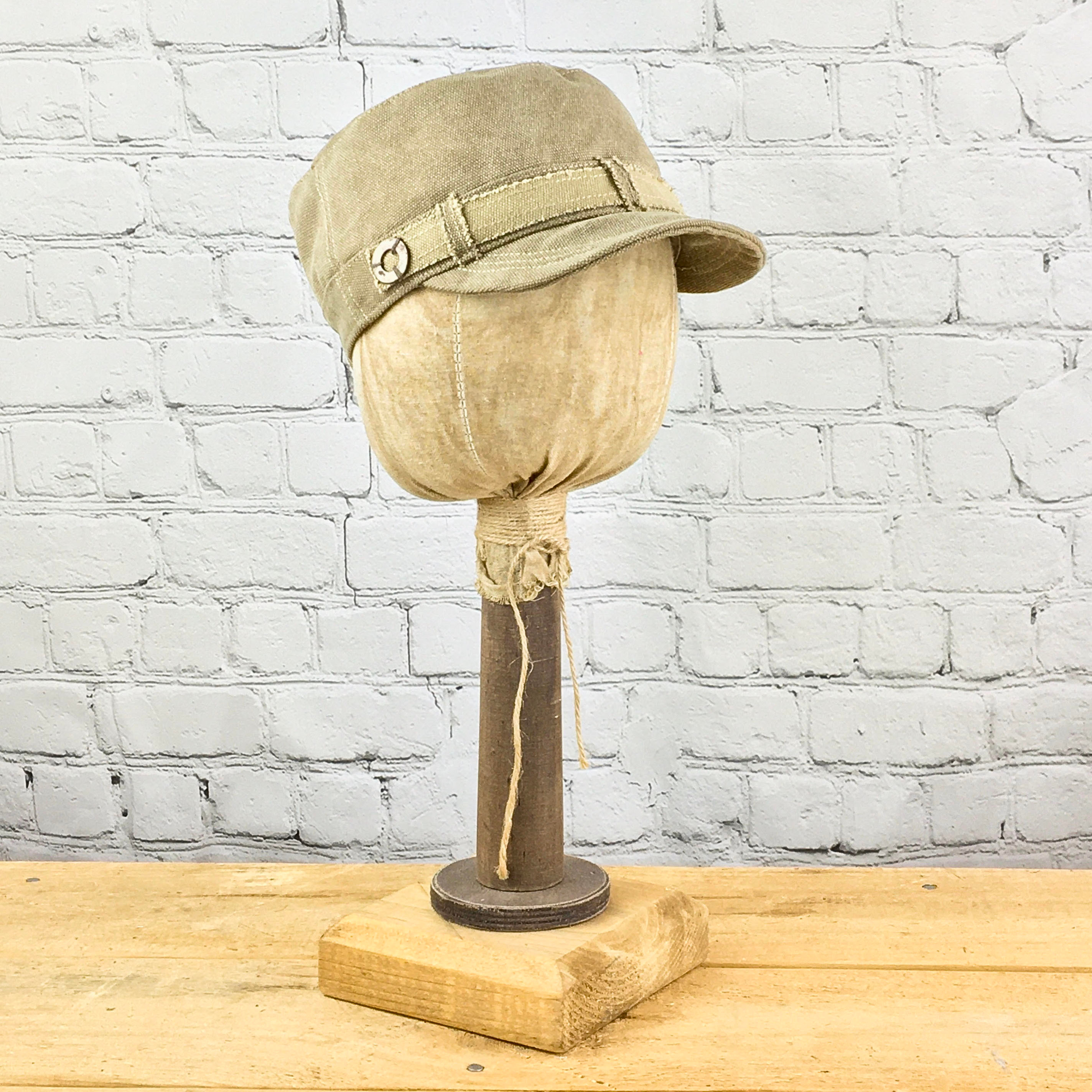 E19831 Vicki Sand Canvas Military Hat