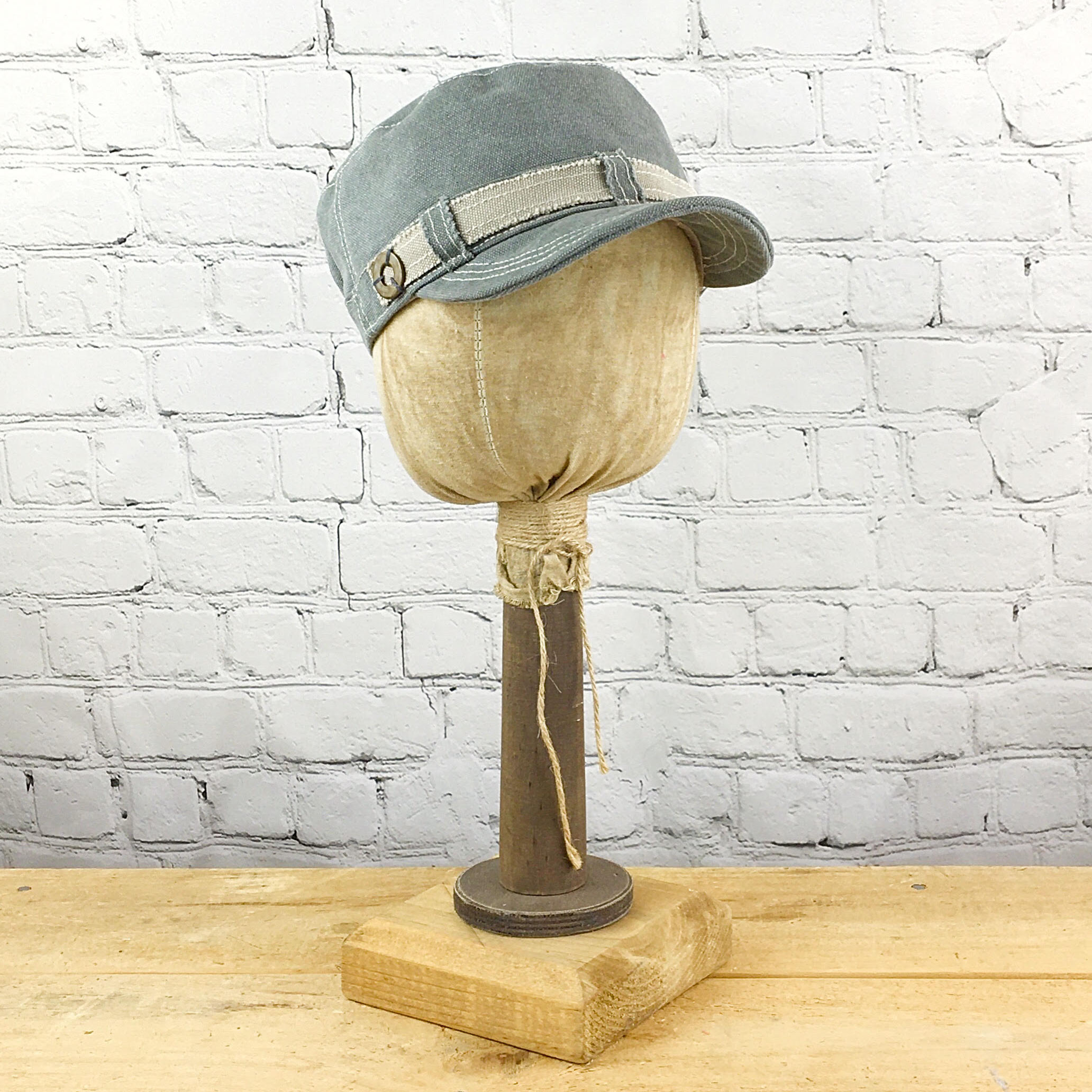 E19833 Vicki Slate Canvas Military Hat
