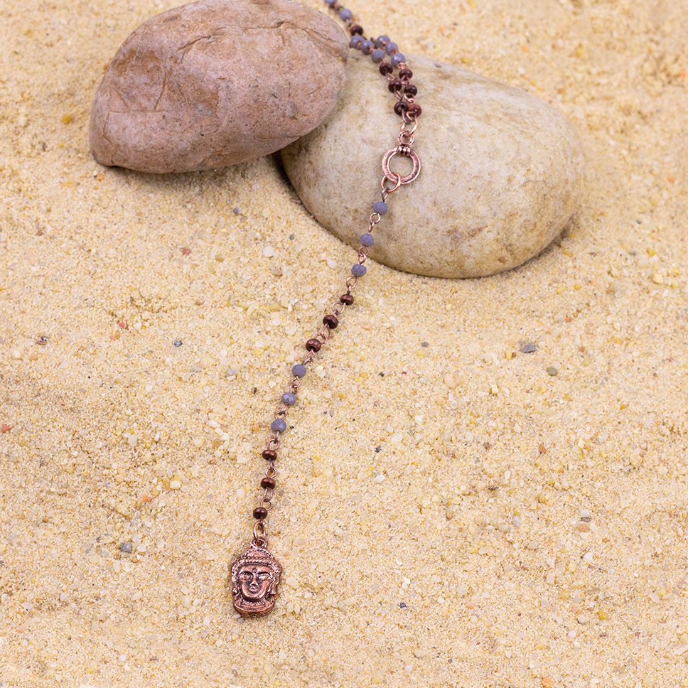 E19866 Long Drop Buddha Head Necklace