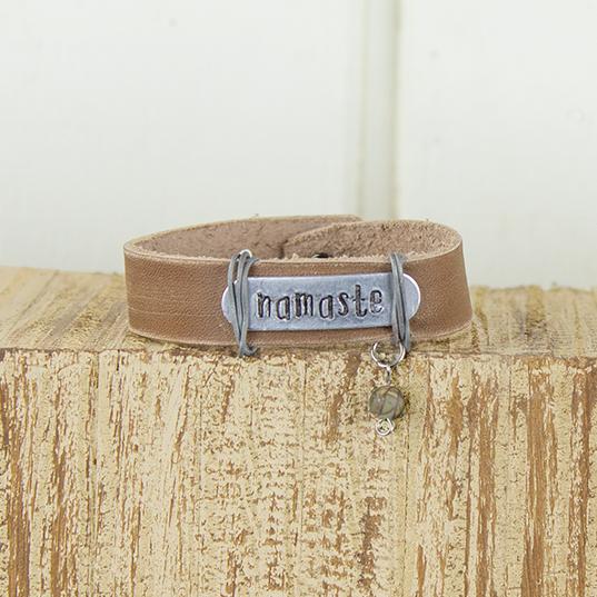 E19879 Namaste Tan Leather Bracelet