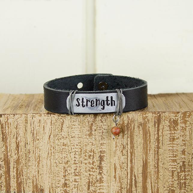 E19885 Strength Black Leather Bracelet