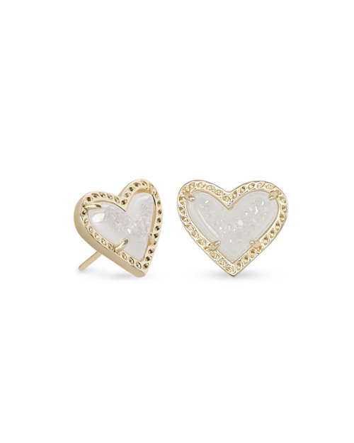 ARI HEART STUD EARRING - IRIDESCENT DRUSY AND GOLD