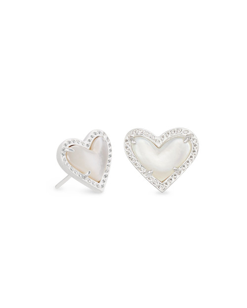 ARI HEART STUD EARRING - MOTHER OF PEARL AND SILVER