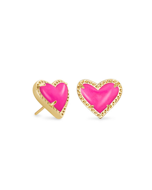 ARI HEART STUD EARRING - MAGENTA AND GOLD
