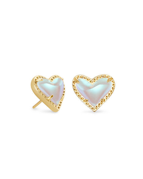 ARI HEART STUD EARRING - DICHROIC AND GOLD
