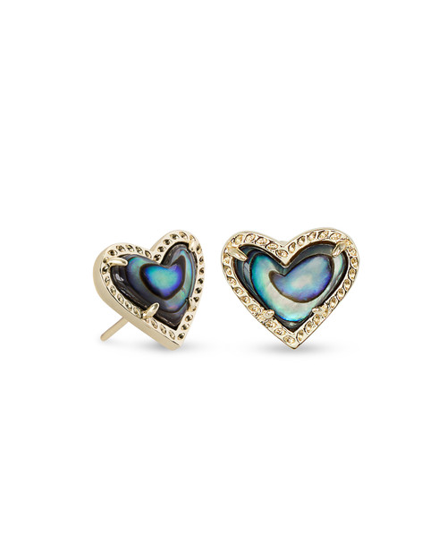 ARI HEART STUD EARRING - ABALONE AND GOLD