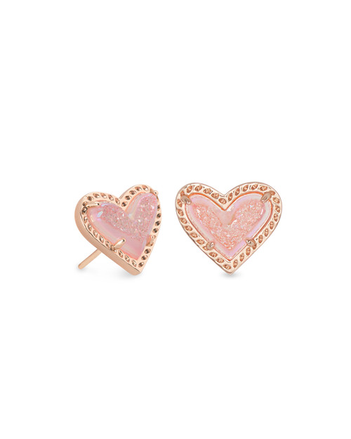 ARI HEART STUD EARRING - PINK DRUSY AND ROSE GOLD