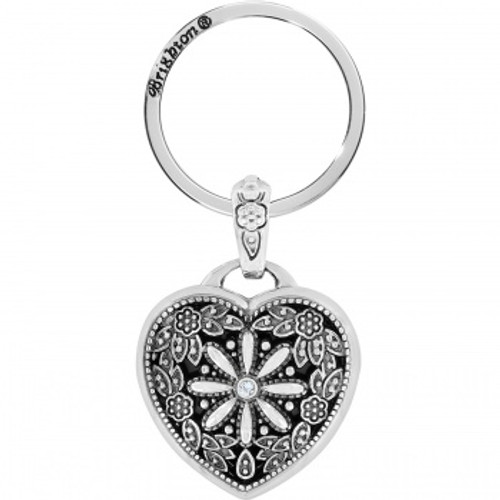 FLORAL HEART KEY FOB - SILVER