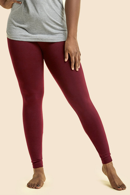 FLEECE LEGGINGS  PLUS SIZE - BURGUNDY