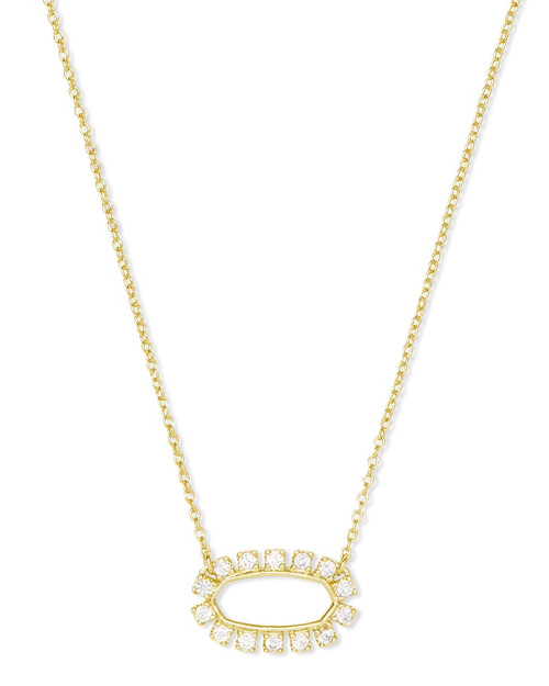 ELISA OPEN FRAME CZ NECKLACE GOLD WHITE CZ