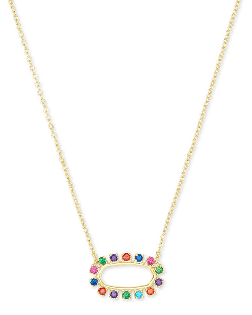 ELISA OPEN FRAME CZ NECKLACE GOLD MULTI CZ