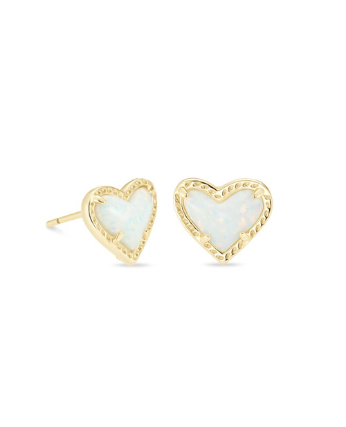 ARI HEART STUD EARRING - GOLD WHITE OPAL
