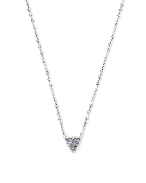 PERRY SHORT PENDANT NECKLACE - RHOD STEEL GRAY DRUSY
