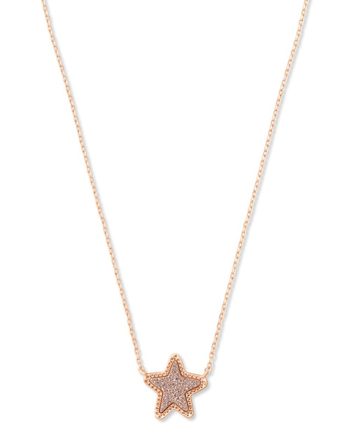 JAE STAR SHORT PENDANT - RSG ROSE GOLD DRUSY