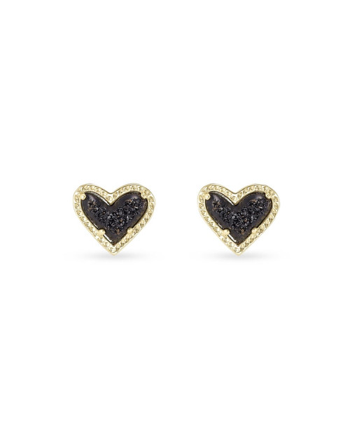 ARI HEART STUD EARRING - GOLD BLACK DRUSY