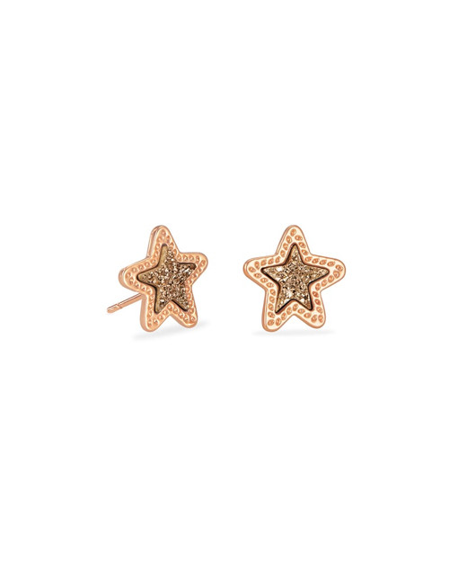 JAE STAR STUD EARRING - RSG ROSE GOLD DRUSY