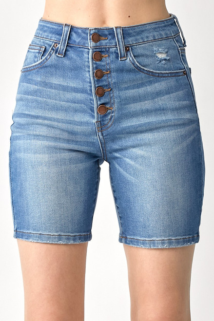 HIGH RISE BUTTON FLY MID-THIGH SHORTS - BLUE