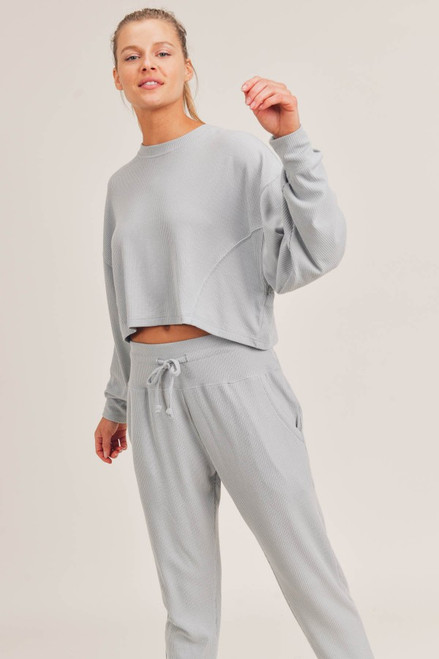 ALL-OVER RIBBED CROPPED PULLOVER - MIST