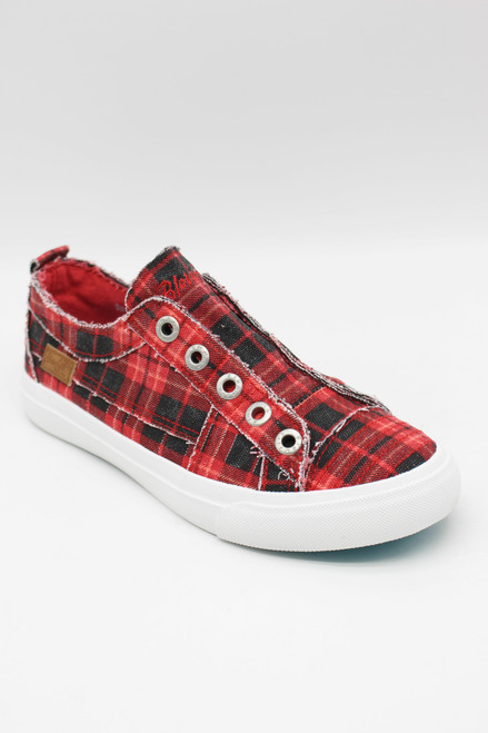 PLAY CANVAS SNEAKERS - RED GRAND CANYON PLAID