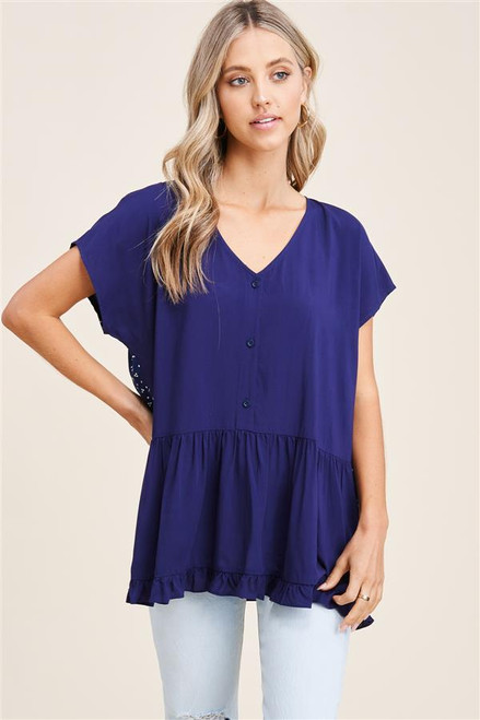 SPOTTED DOT BACK TOP - NAVY