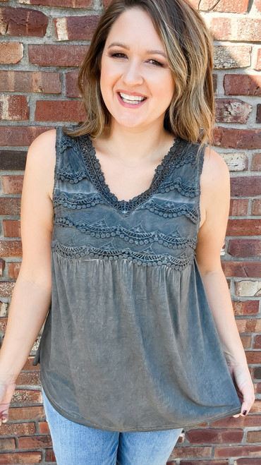 LACE TANK TOP - CHARCOAL