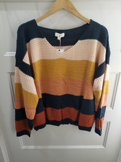 COLOR BLOCK PULL OVER SWEATER - FOREST/MUSTARD