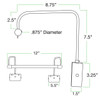 Dimensions for Tru-Slim Picture Light