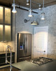 Galvanized silver Goodyear Indoor/Outdoor LED Barn Light in the kitchen