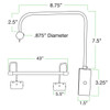 """Dimensions for Battery Operated Tru-Slim 43"""" Oil Rubbed Bronze LED Picture Light"""
