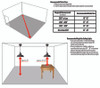 """Recommended Installing Dimensions for 10"""" Peony LED Pendant Light in Cherry Red"""