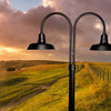 Double post light with post at outdoor field
