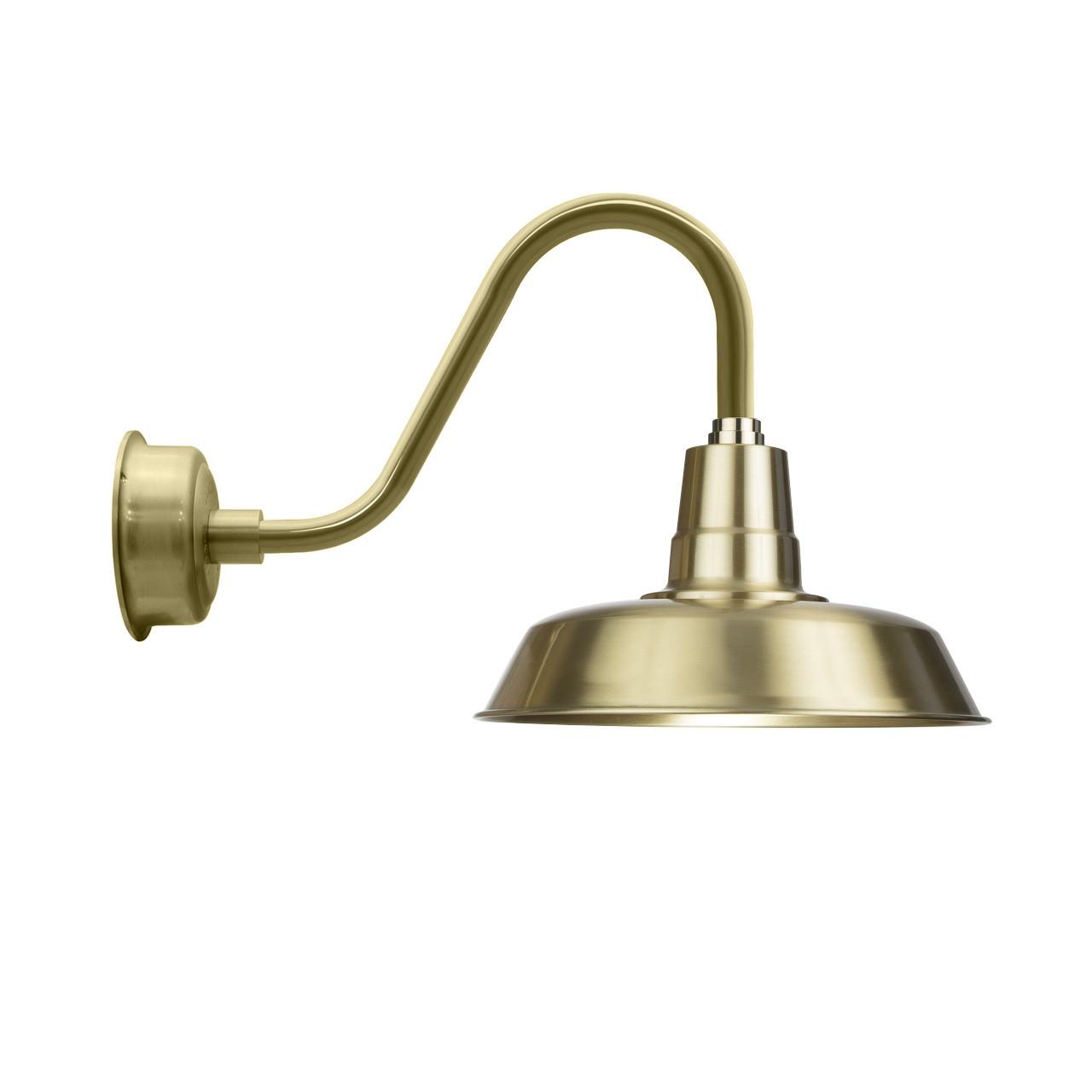 Barn Light 14 Brass With Rustic Gooseneck Arm Cocoweb