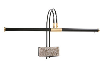 "Front View of 22"" LED Grand Piano Lamp- Black/Marble Plated"