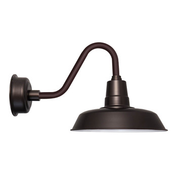 "Oldage 14"" Vintage Mahogany Bronze Gooseneck LED Barn Light"