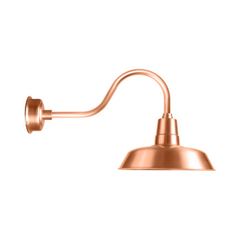 """Solid Copper 16"""" Oldage LED with Contemporary Gooseneck Arm Barn Light"""