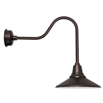 "Calla 16"" Gooseneck Sleek Mahogany Bronze LED Barn Light"
