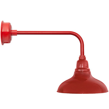 """12"""" Dahlia LED Barn Light with Traditional Arm in Cherry Red"""