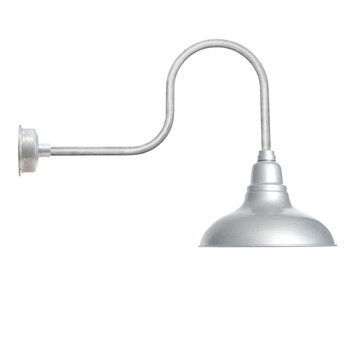 """12"""" Dahlia LED Barn Light with Industrial Arm in Galvanized Silver"""
