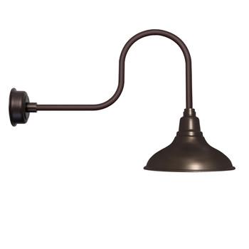 "12"" Dahlia LED Barn Light with Industrial Arm in Mahogany Bronze"