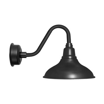 "8"" Dahlia LED Barn Light with Vintage Arm in Matte Black"