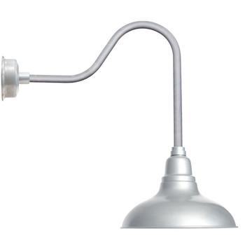 "8"" Dahlia LED Barn Light with Sleek Arm in Galvanized Silver"