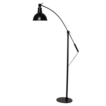 "Front View of 8"" Blackspot Barn Floor Lamp- Black"