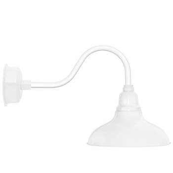 """12"""" Dahlia LED Barn Light with Contemporary Arm in White"""