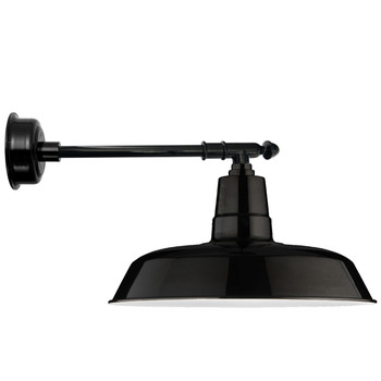 "18"" Oldage LED Barn Light with Victorian Arm - Black"