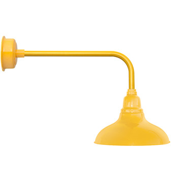 """12"""" Dahlia LED Barn Light with Traditional Arm in Yellow"""