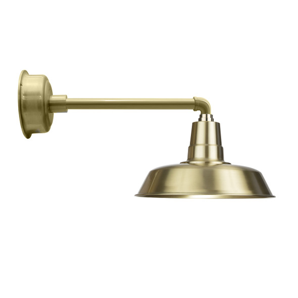 "14"" Solid Brass with Metropolitan Gooseneck Arm LED Barn Light"