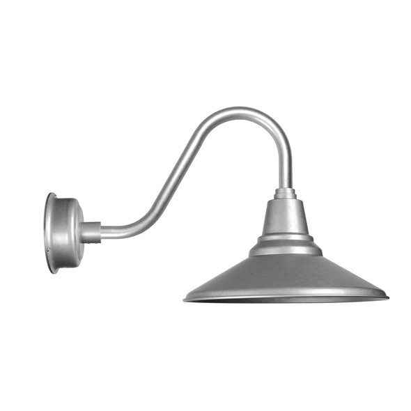 "Calla 16"" Gooseneck Rustic Galvanized Silver LED Barn Light"