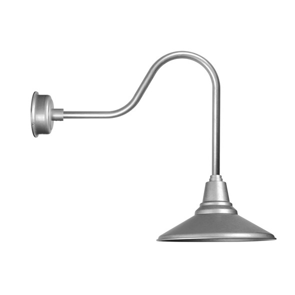 "16"" Galvanized Silver Sleek Calla Indoor/Outdoor LED Barn Light"